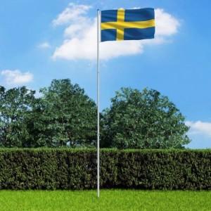 Svéd zászló alumíniumrúddal...