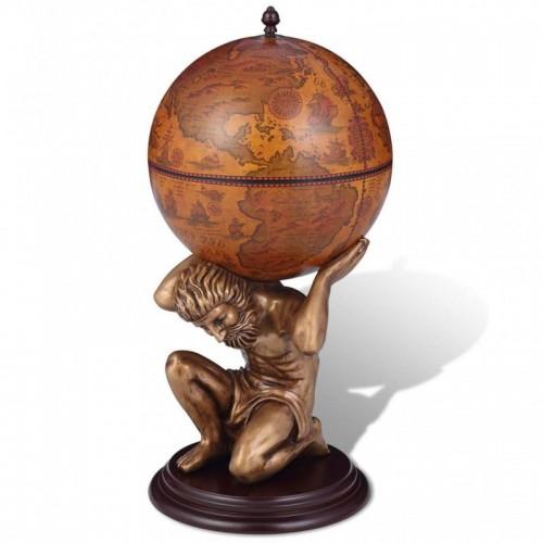 Földgömb alakú bárszekrény Atlasz szoborral 42 x 42 x 85 cm