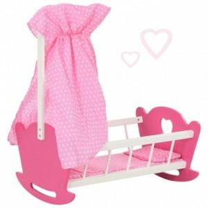 Rózsaszín MDF játék babaágy ágymennyezettel 50 x 34 x 60 cm