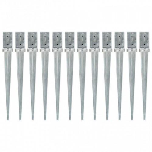 12 db ezüstszínű horganyzott acél kerítéstüske 8 x 8 x 76 cm