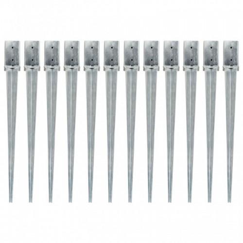 12 db ezüstszínű horganyzott acél kerítéstüske 8 x 8 x 91 cm