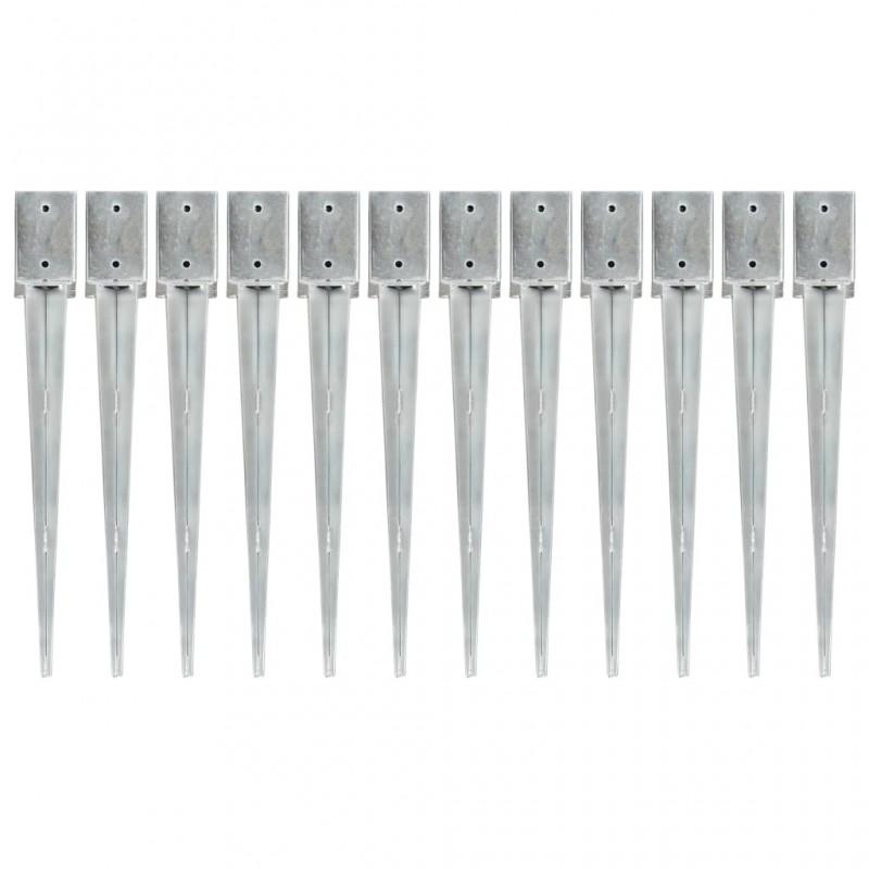 12 db ezüstszínű horganyzott acél kerítéstüske 9 x 9 x 75 cm