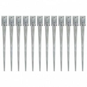 12 db ezüstszínű horganyzott acél kerítéstüske 9 x 9 x 90 cm
