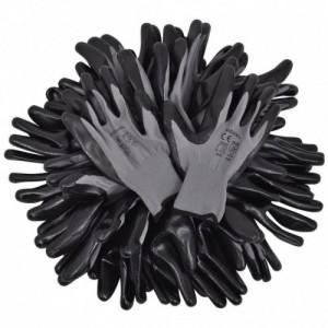 24 pár PU munkáskesztyű méret 10 XL szürke és fekete