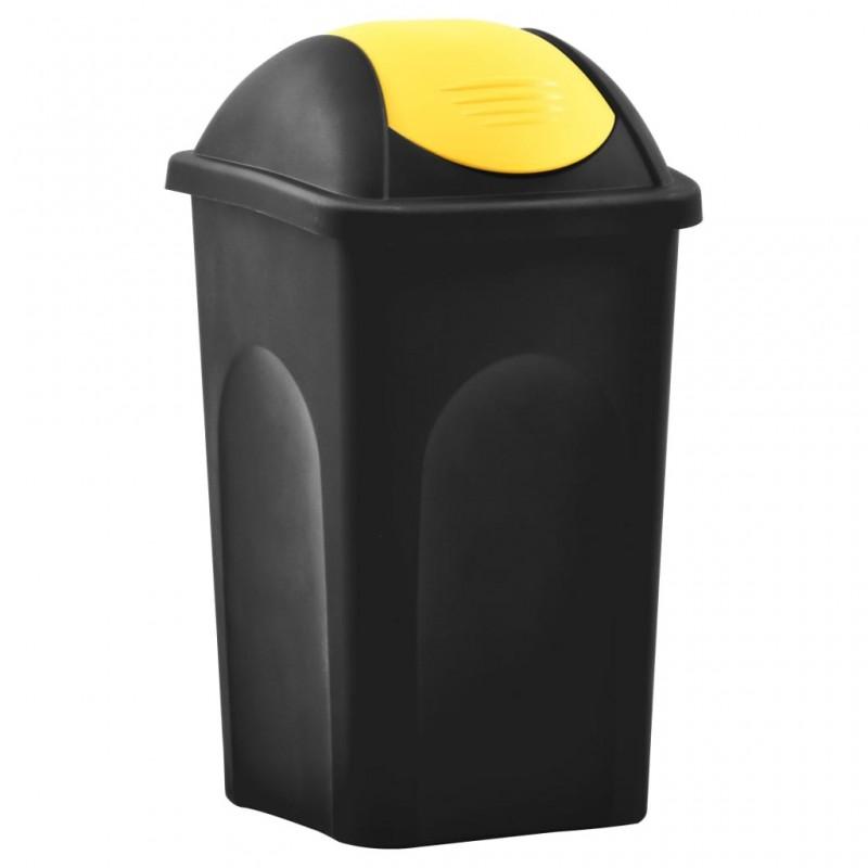 Fekete és sárga szemeteskuka lengőfedéllel 60 L