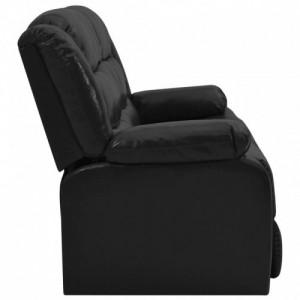 Kétszemélyes fekete műbőr dönthető kanapé
