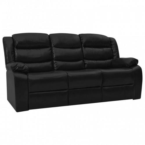 Háromszemélyes fekete műbőr dönthető kanapé