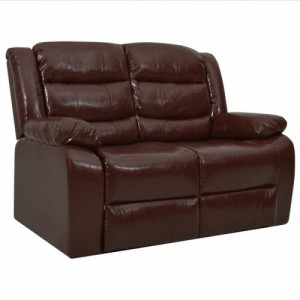 Kétszemélyes barna műbőr dönthető kanapé