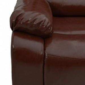 Háromszemélyes barna műbőr dönthető kanapé