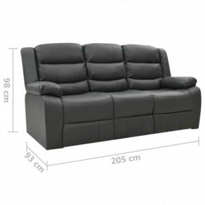 Háromszemélyes szürke műbőr dönthető kanapé