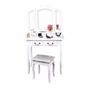 Fésülködőasztal zsámollyal, fehér|ezüst, REGINA NEW