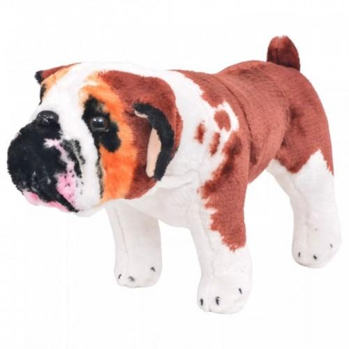 Álló, fehér és barna plüssbuldog XXL