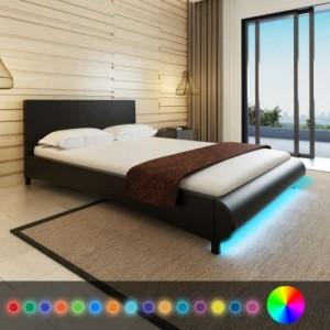 Fekete műbőr ágy LED...