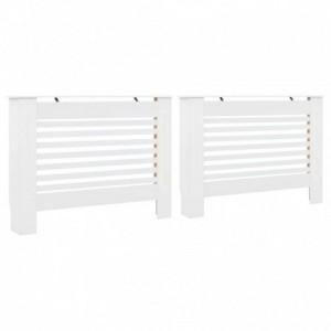 2 db fehér MDF radiátorburkolat 112 x 19 x 81,5 cm