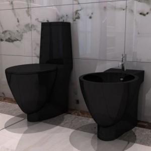 Fekete kerámia WC és bidé...